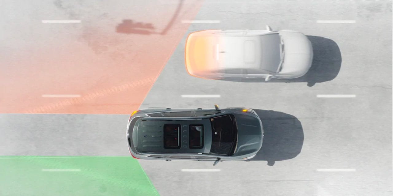 Top view of Buick Enclave Active Safety system