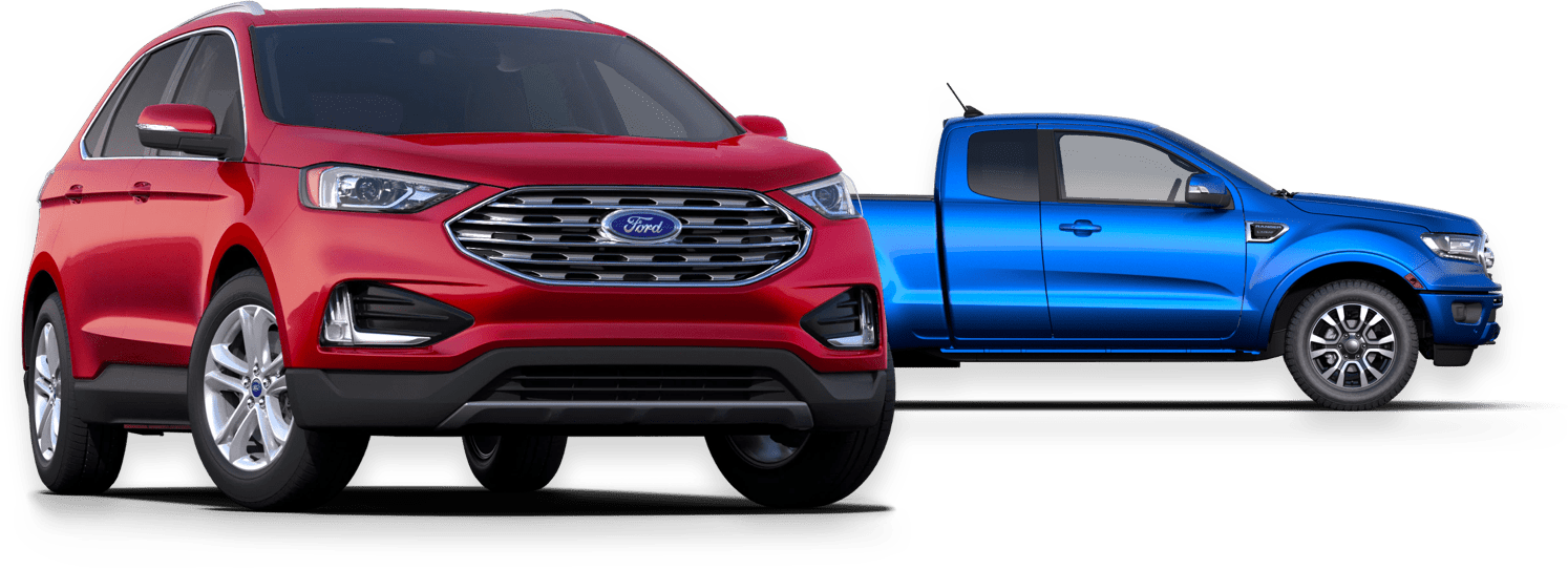 Red Ford  SVU & Blue Ford Truck