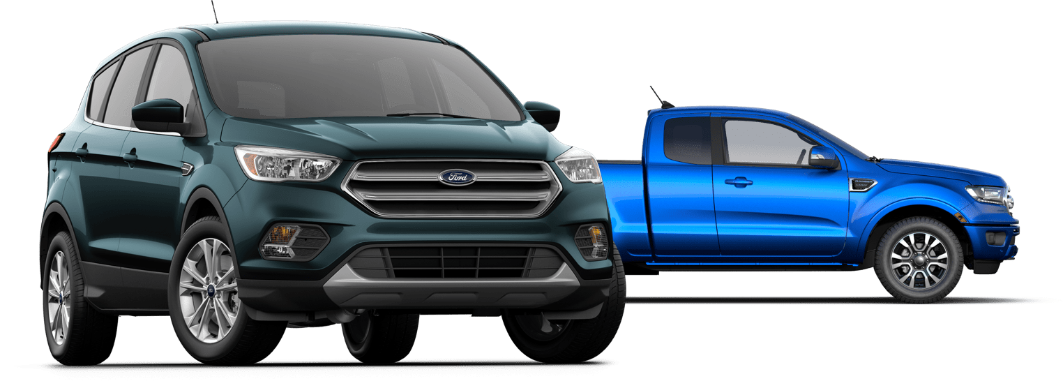 Teal Ford SVU & Blue Ford Truck