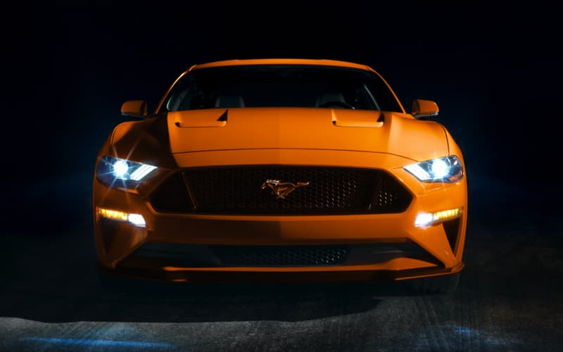 Orange Ford Mustang Front View