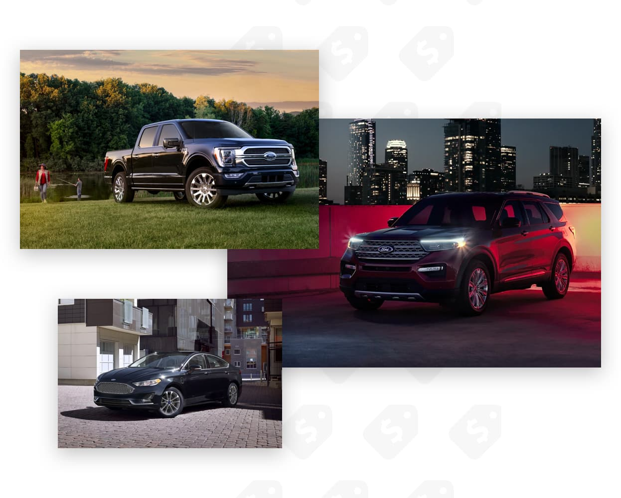 Picture Gallery made up of 3 different Ford Vehicles. Truck, SUV and Sedan.