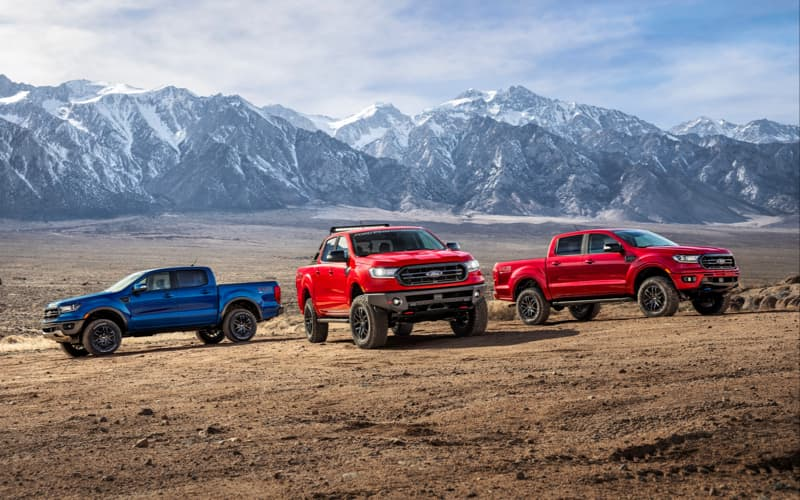 3 Ford Trucks parked near mountains.
