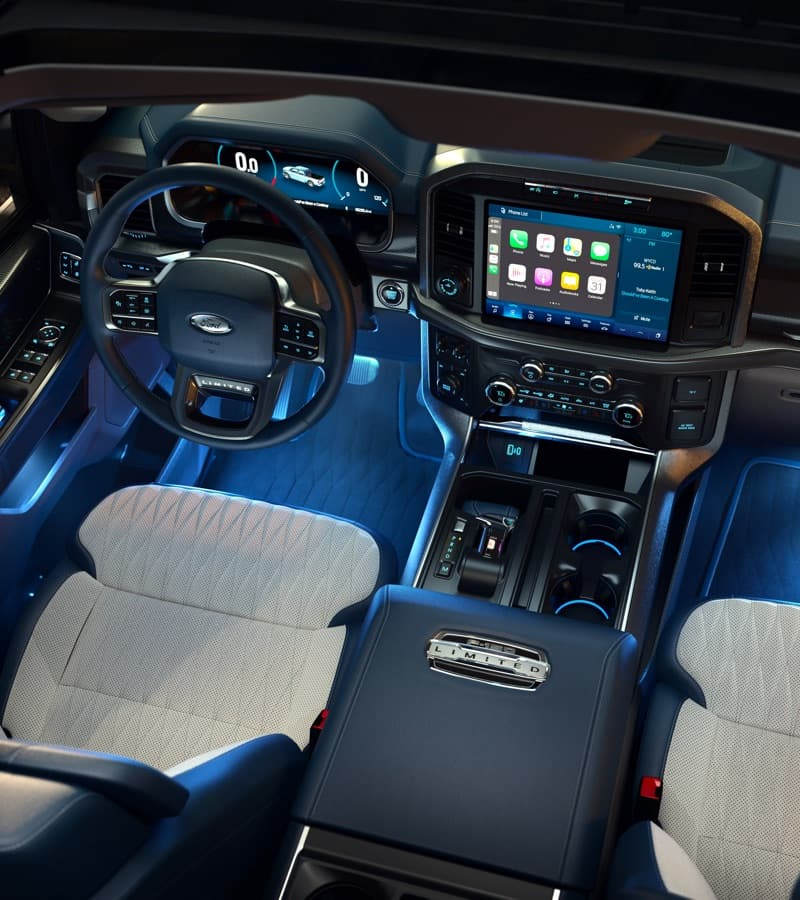 Interior view of Ford vehicle highlighting dashboard and media console