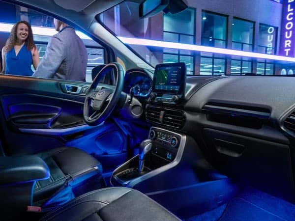 Interior shot of the night lighting in a Ford EcoSport