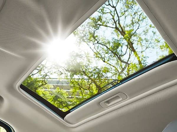 Looking up and out of the moonroof in a Ford EcoSport