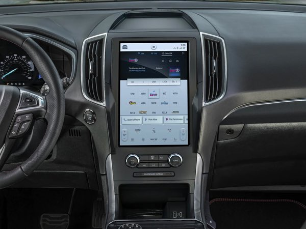 Close up on Ford Edge console