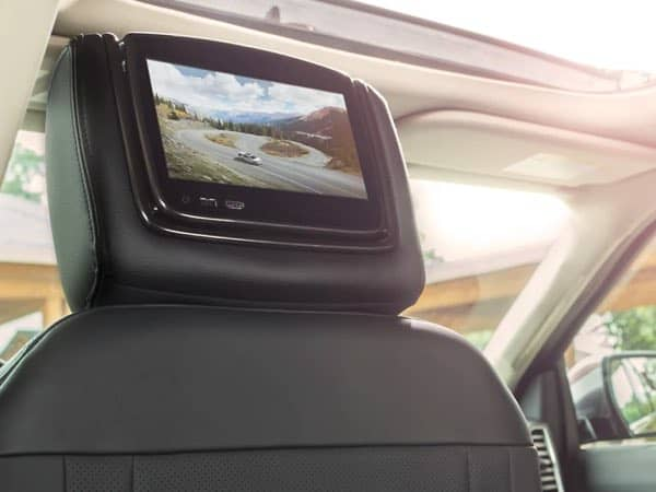 Interior image showing the Dual-Headrest Rear Seat Entertainment System in the Expedition