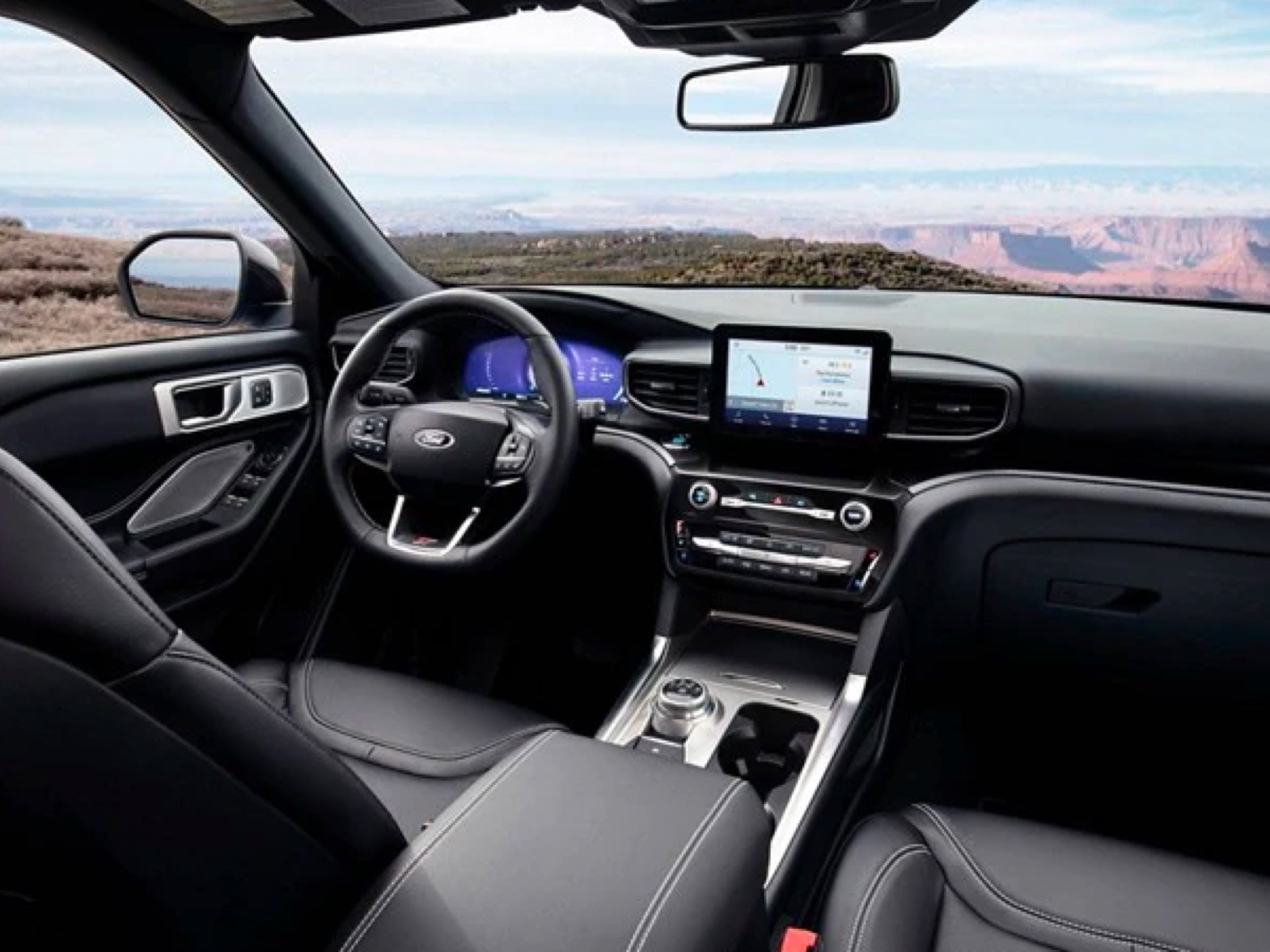 Interior view of a 2021 Ford Explorer ST
