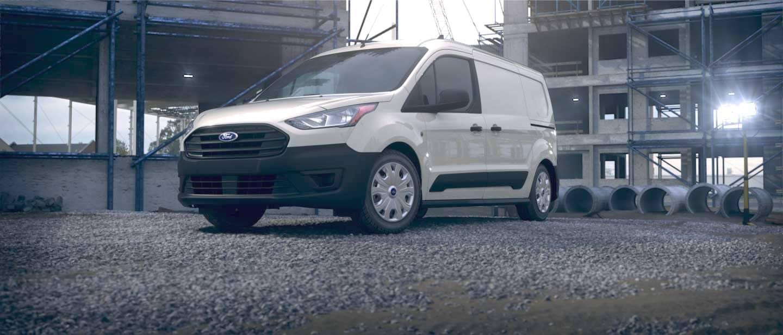 Frozen White Ford Transit Connect Cargo Van