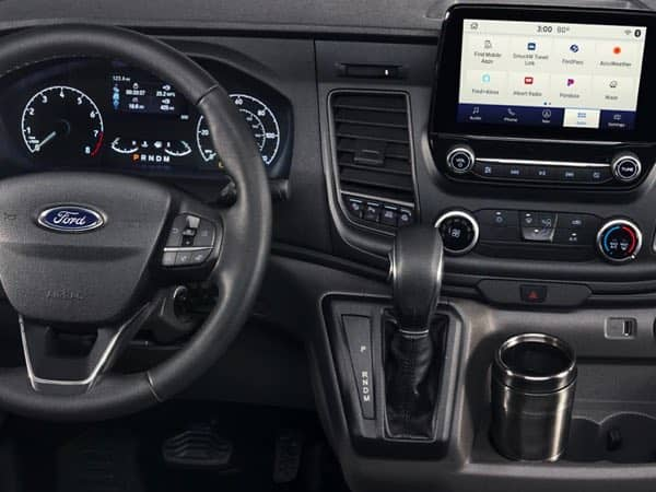 Interior of a Ford Transit vehicle