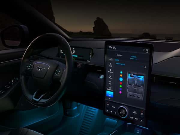 Ford F-150 dashboard glows at night