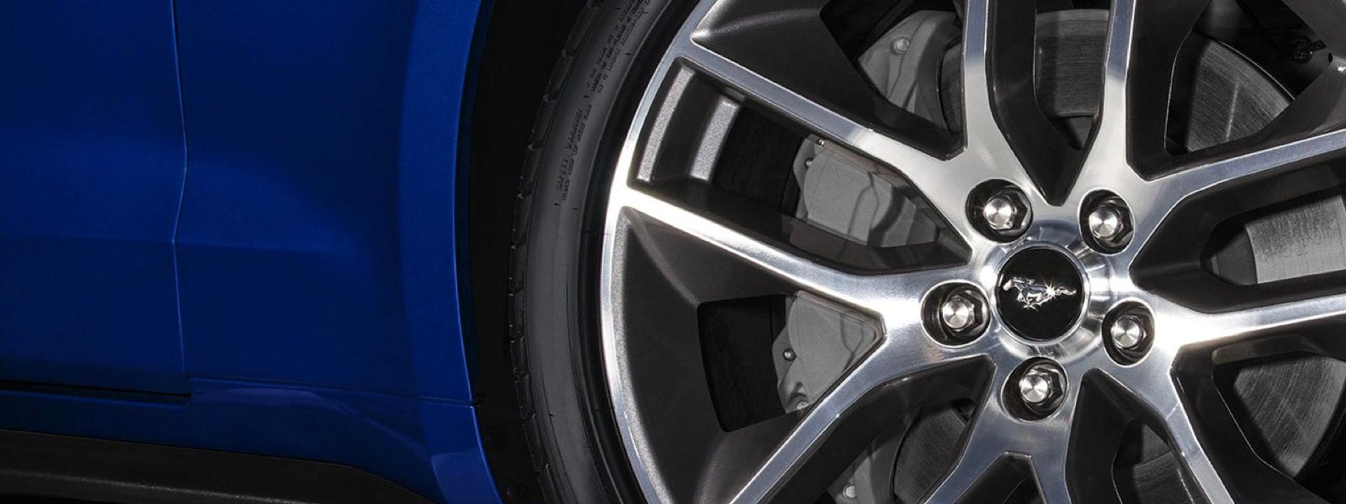 View of Ford Mustang rims
