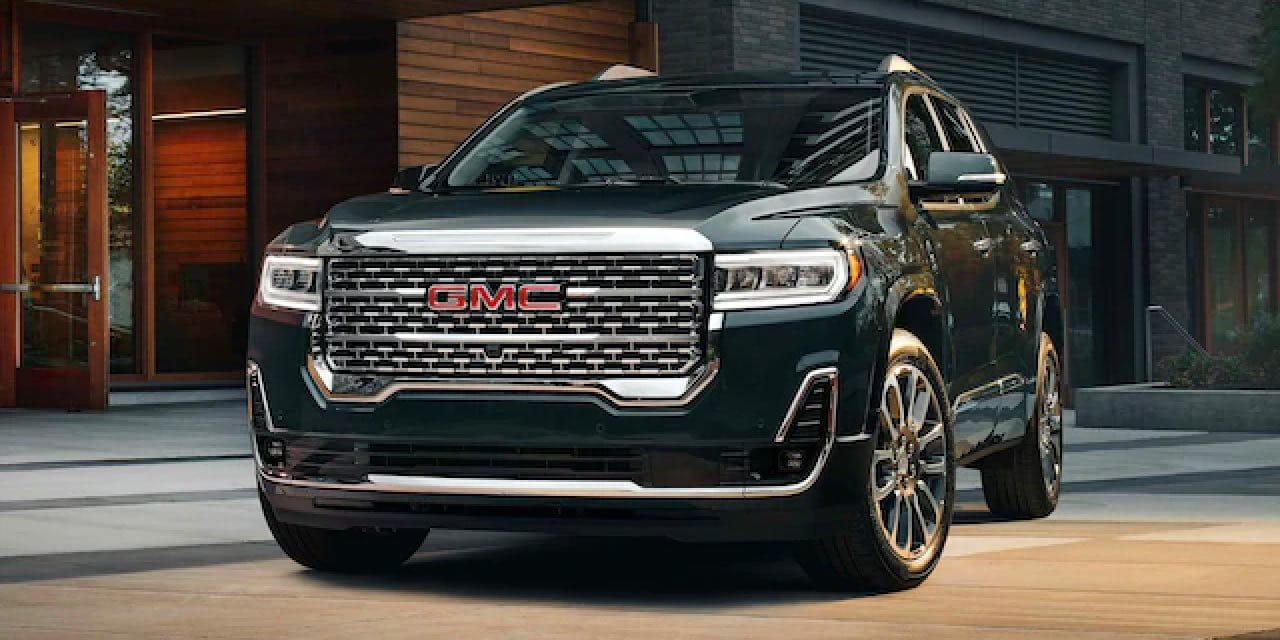 GMC Acadia angled with front grille showing