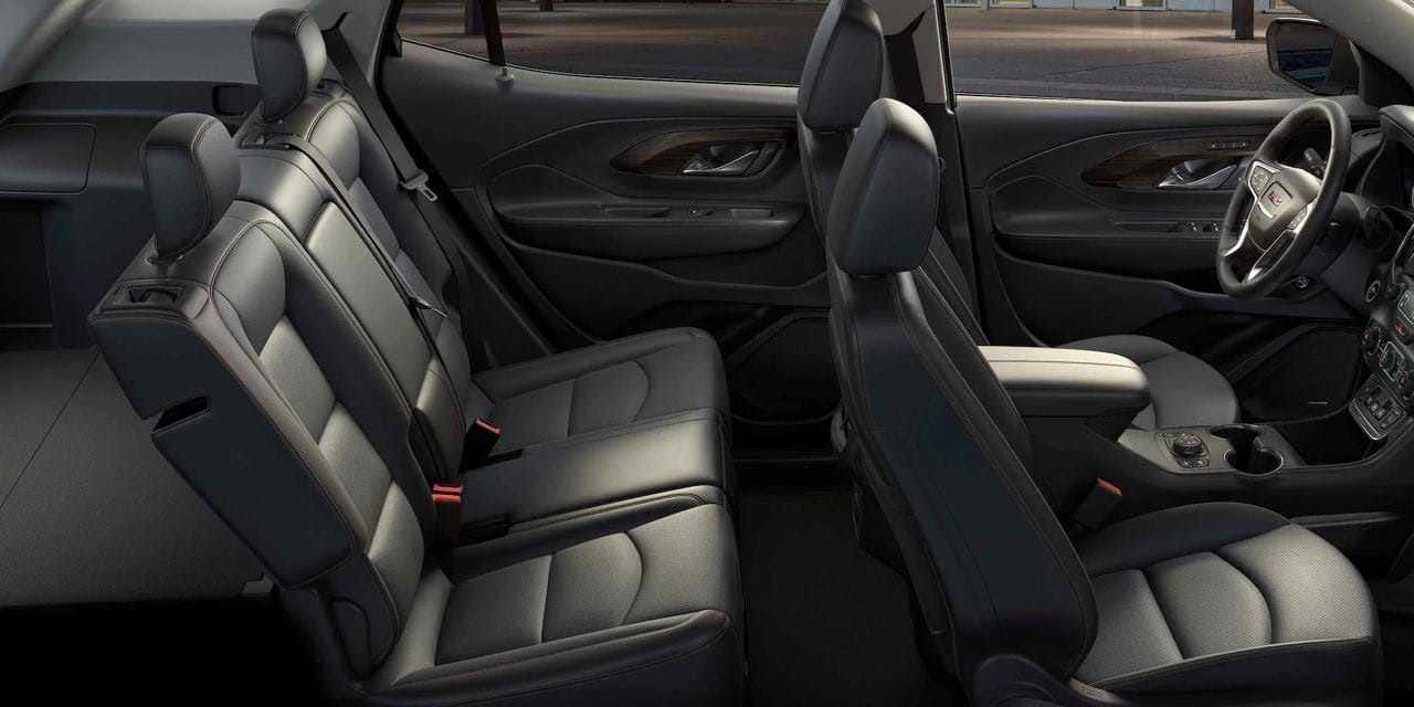 Interior of Terrain, leather seats and rear are foldable