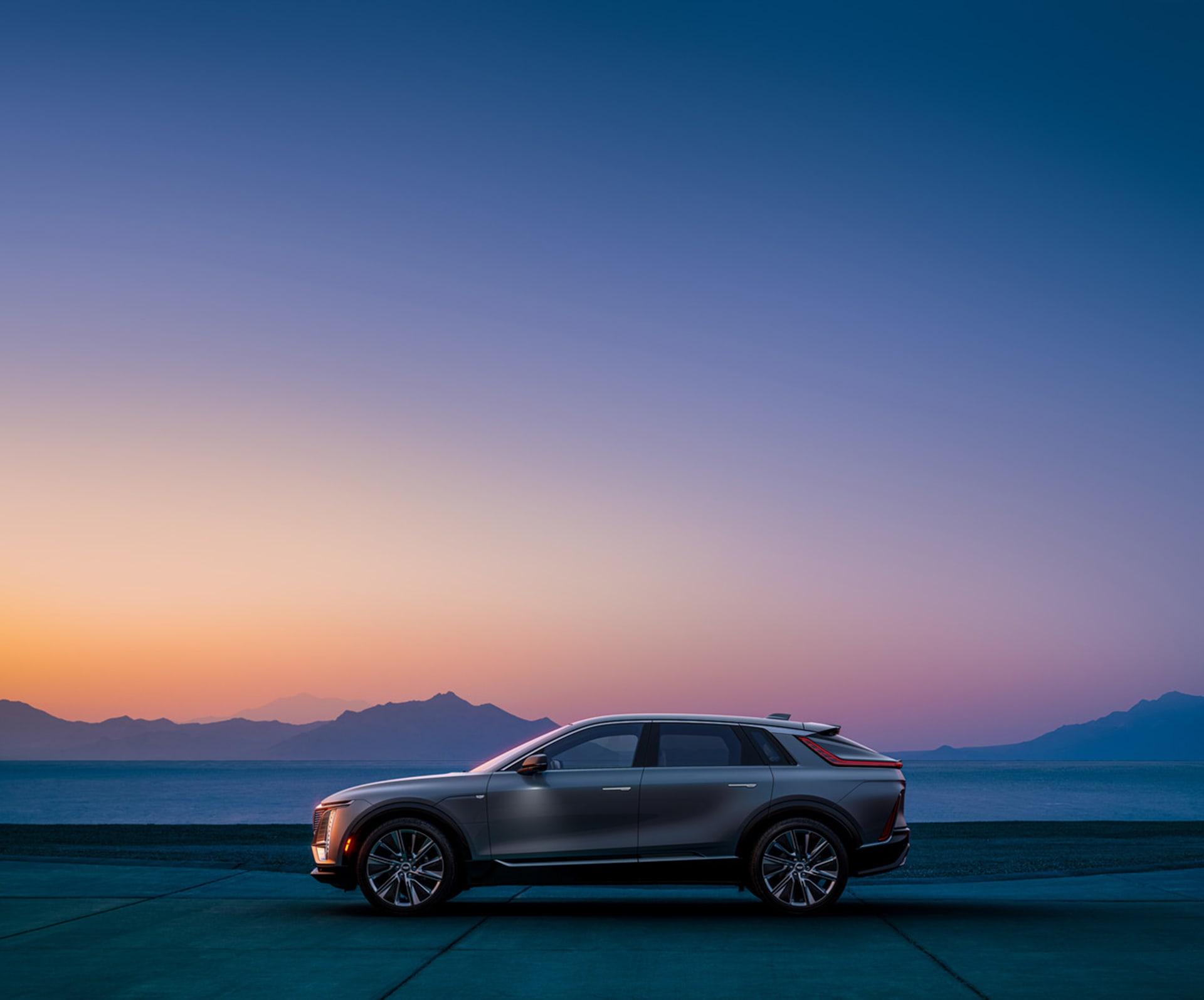2023 Cadillac Lyriq profile at sunset