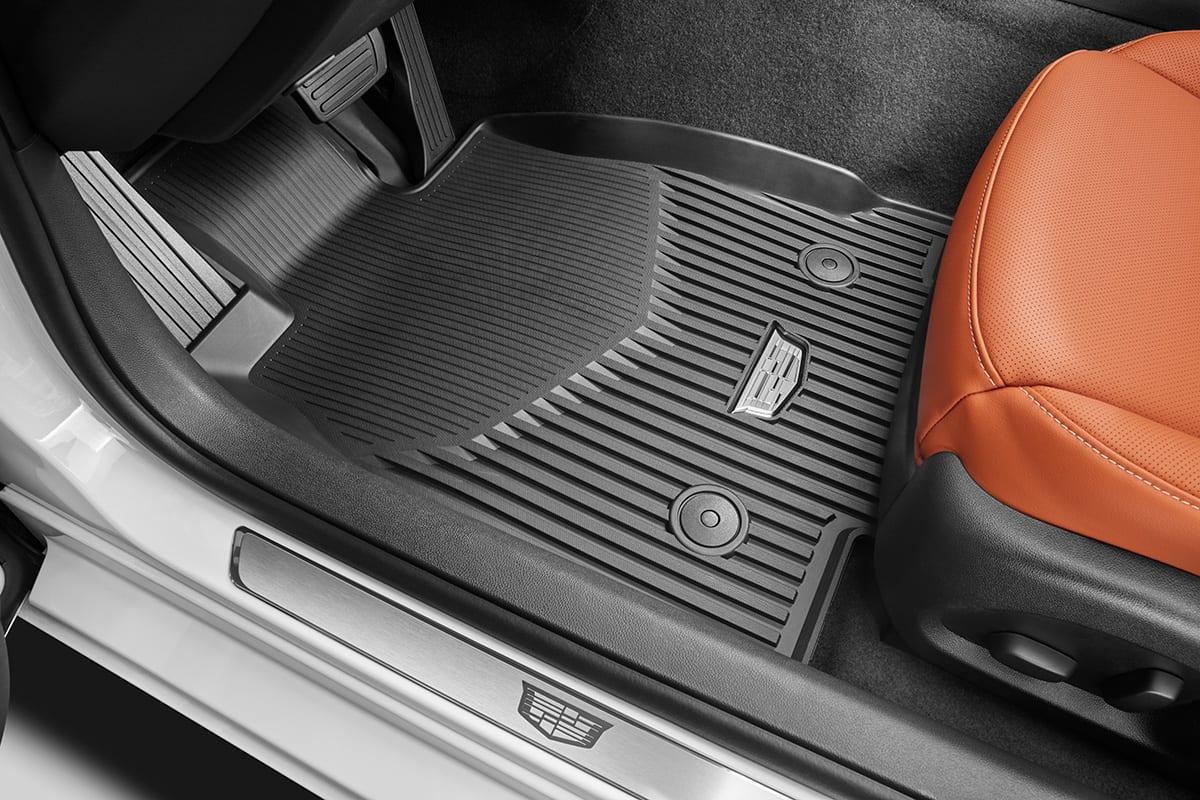 A Cadillac floor mat