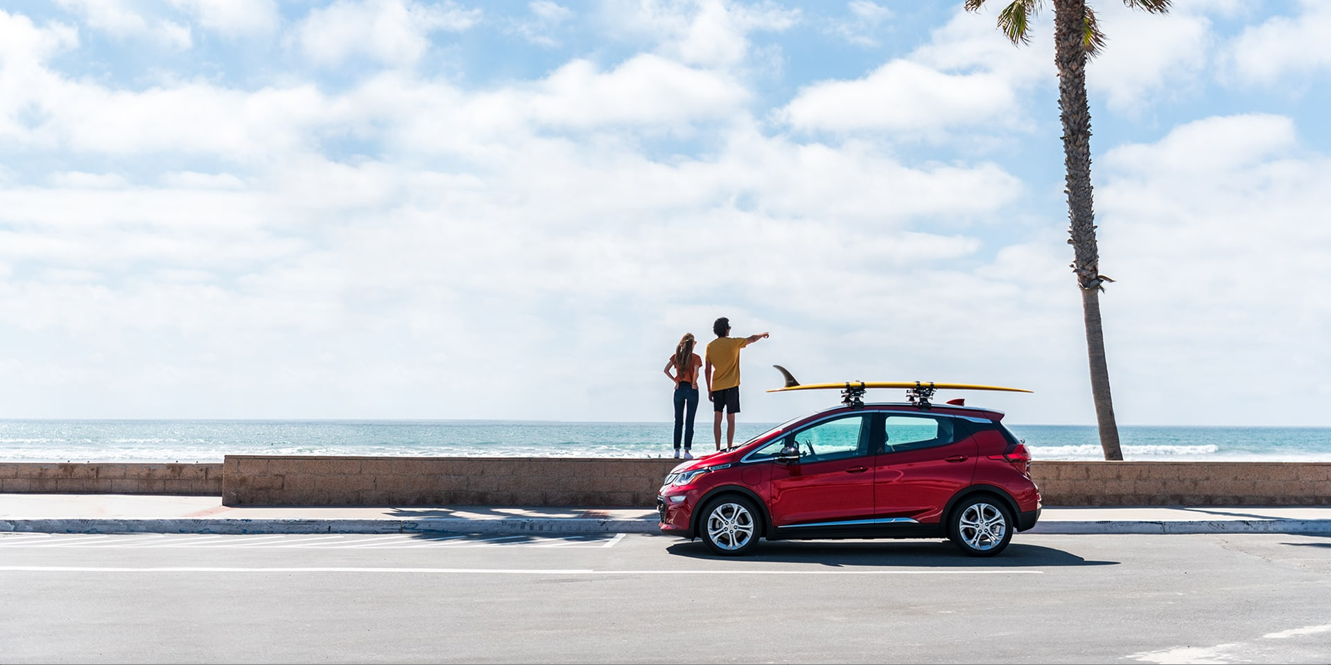 2021 Chevy Bolt parked at the beach
