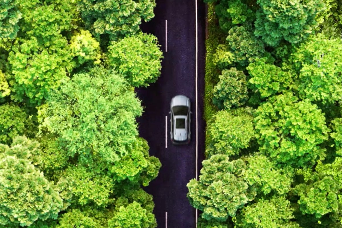 2022 Chevy Bolt EUV driving through the woods