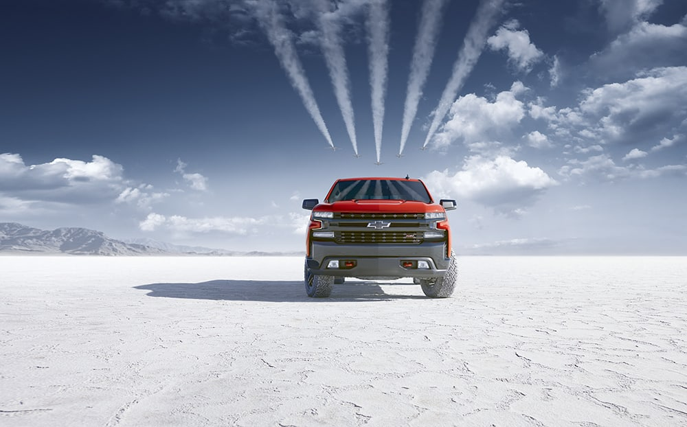 Chevy Silverado on salt flats
