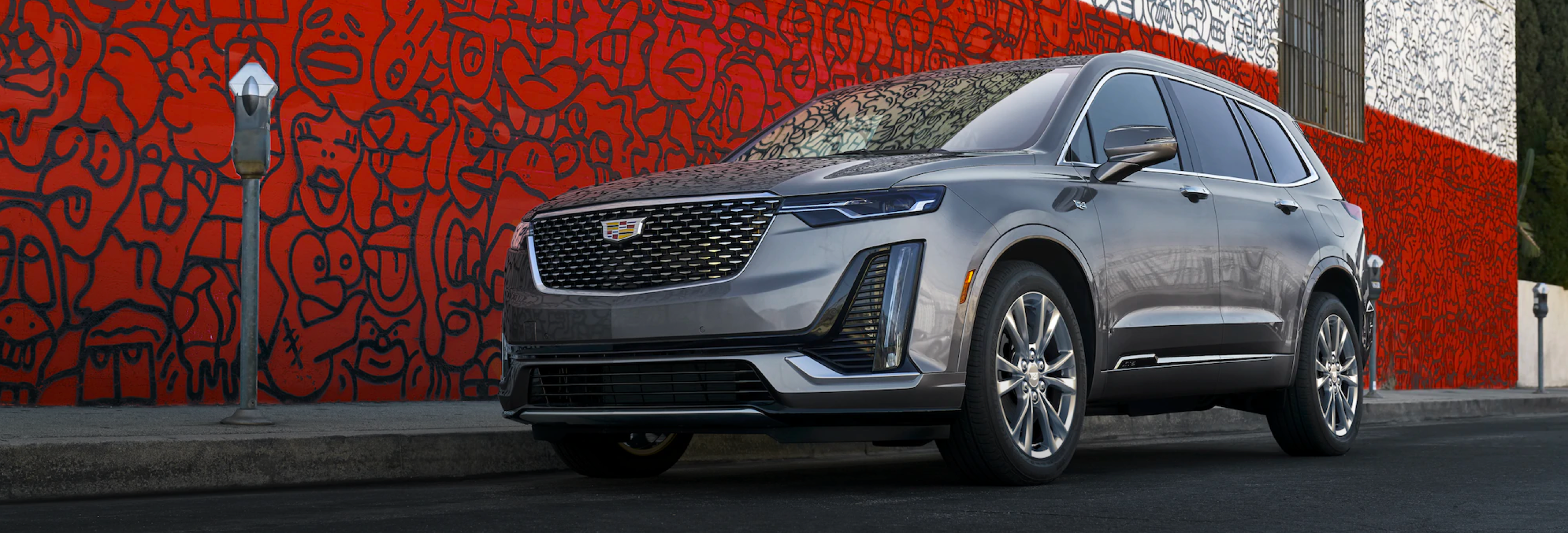 2021 Silver Cadillac XT6 Angled View Parked on a Street