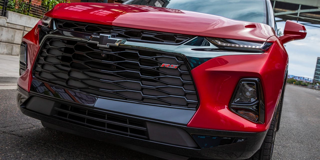 2021 Red Chevrolet Blazer Close up of Grille