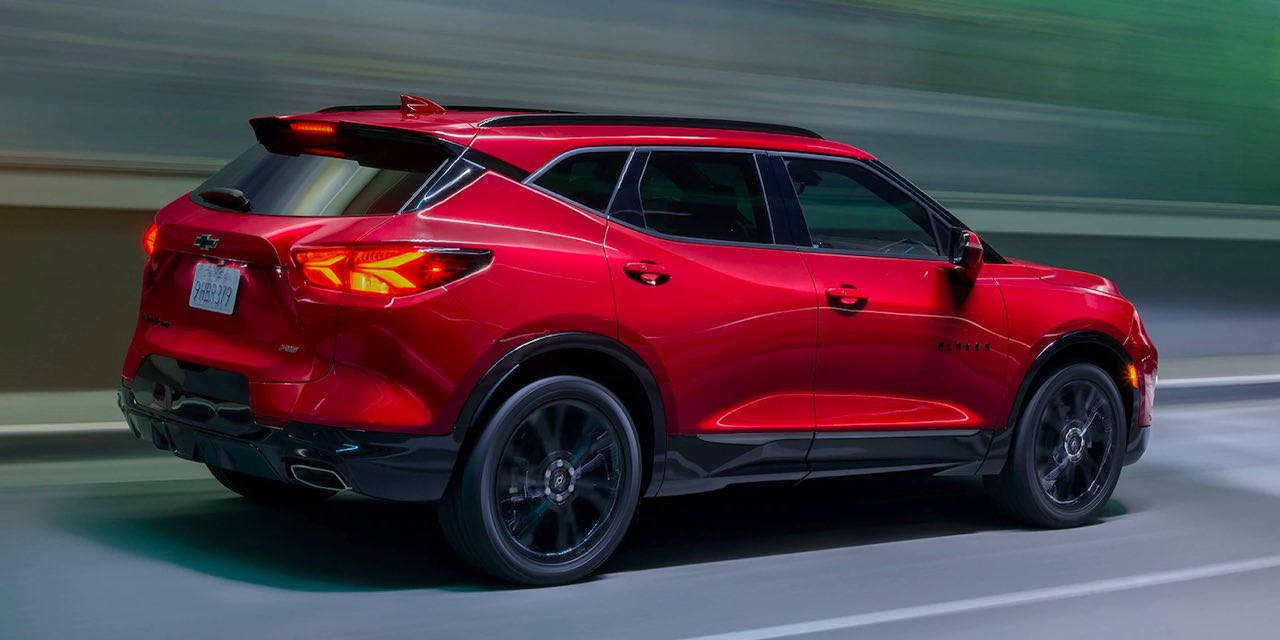 2021 Red Chevrolet Blazer Side View