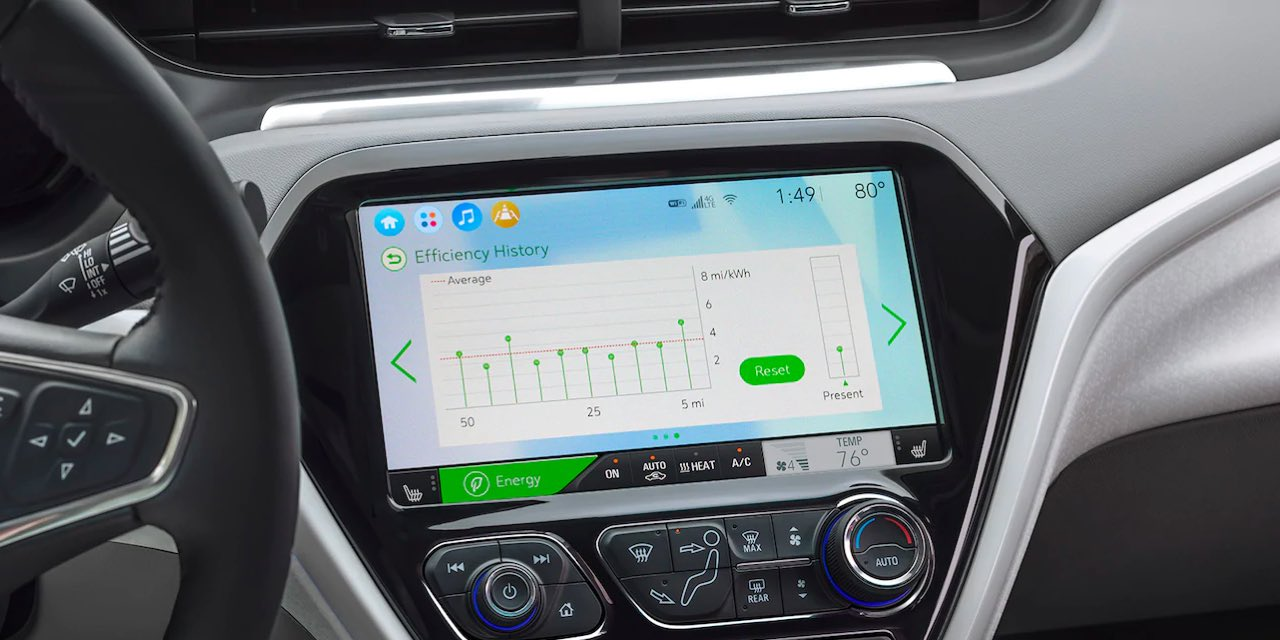2021 Chevrolet Bolt EV touchscreen efficiency display
