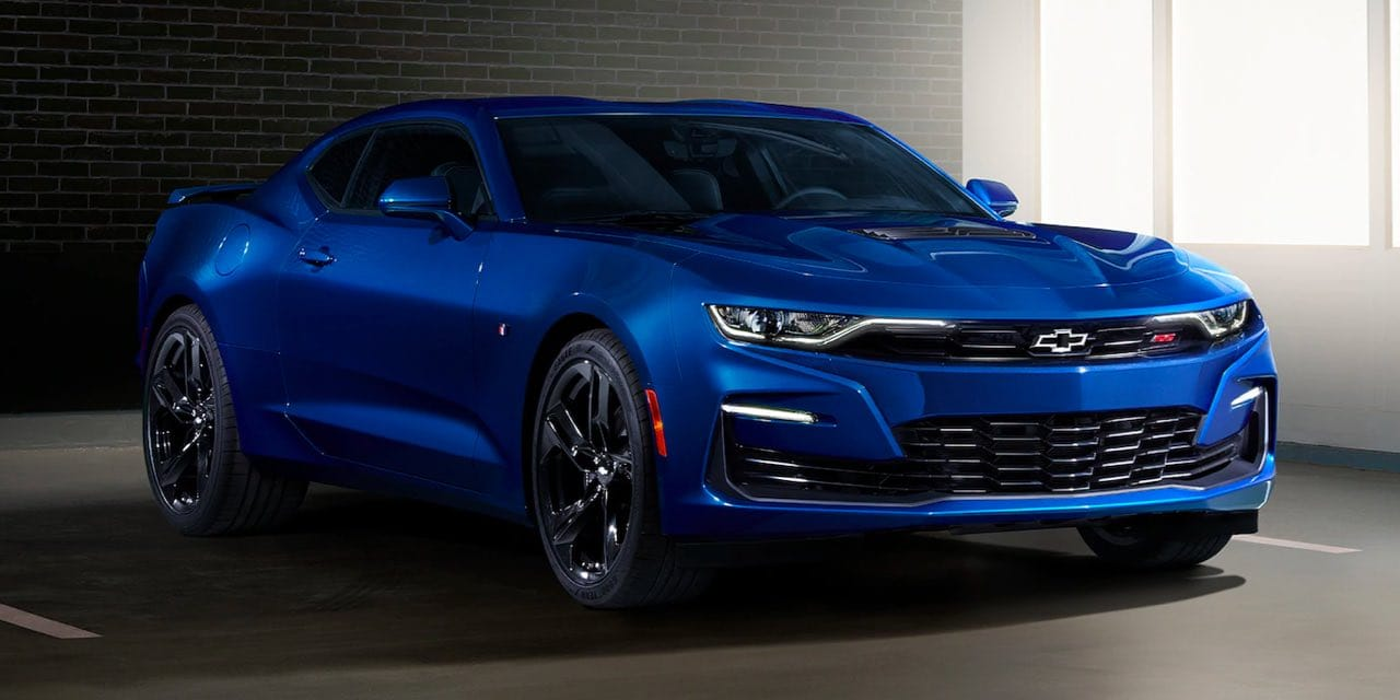 Parked 2021 Blue Chevrolet Camaro Front Angle View