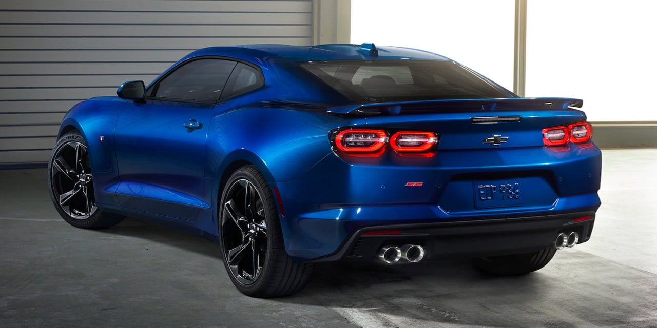 2021 Blue Chevrolet Camaro Rear Side View