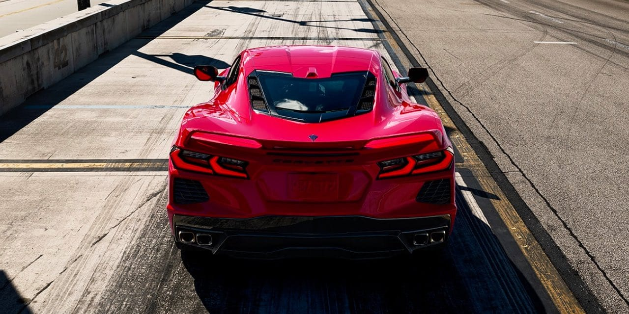 2021 Red Chevrolet Corvette Rear Elevated View of Corvette parked on strip