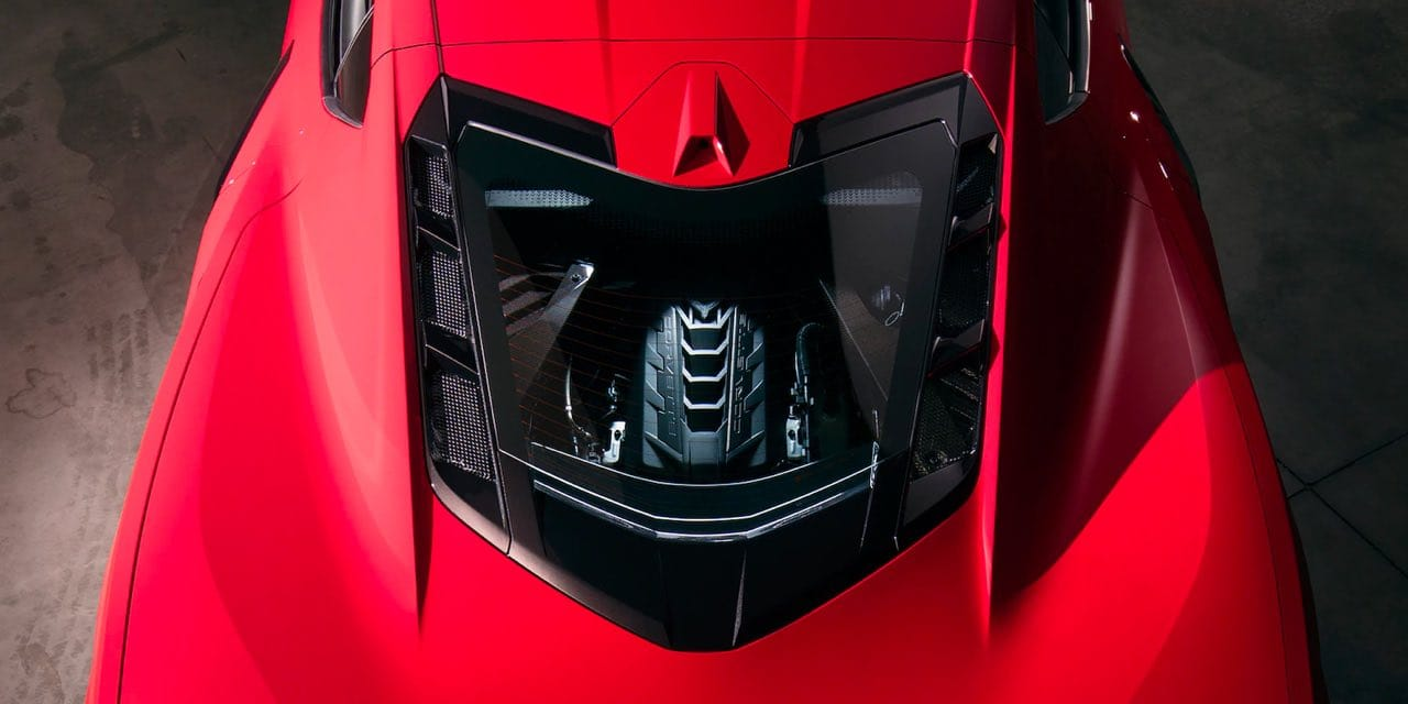 Parked overhead shot of 2021 Red Chevrolet Corvette Engine