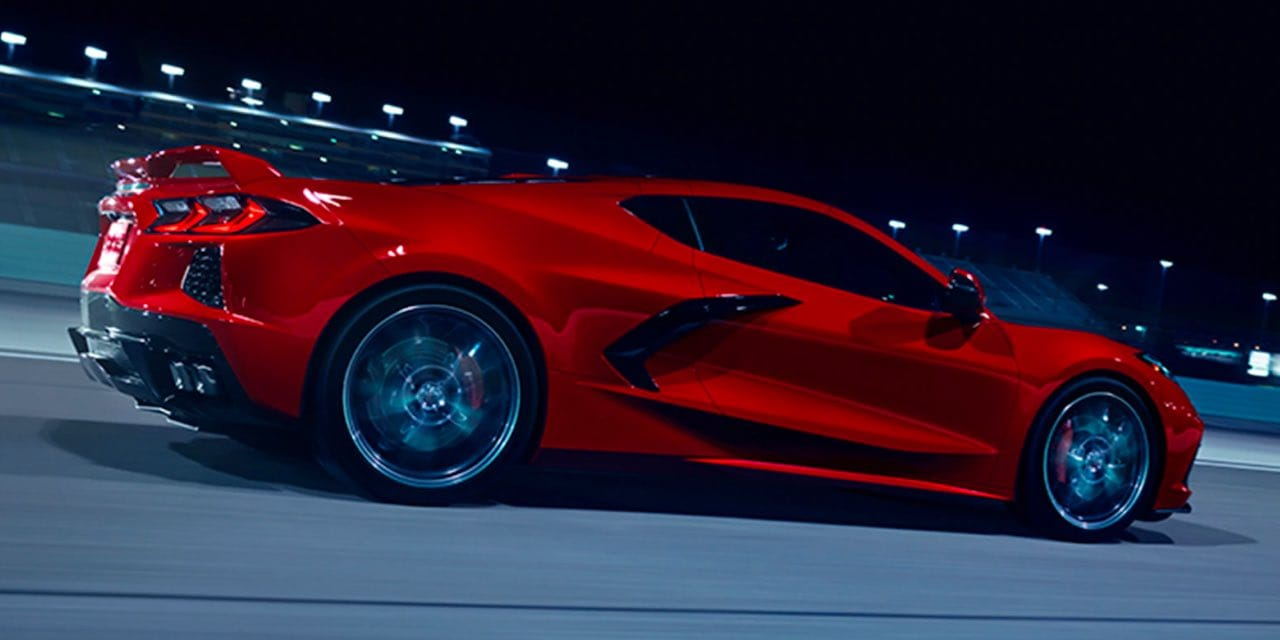 2021 Red Chevrolet Corvette Rear Side View