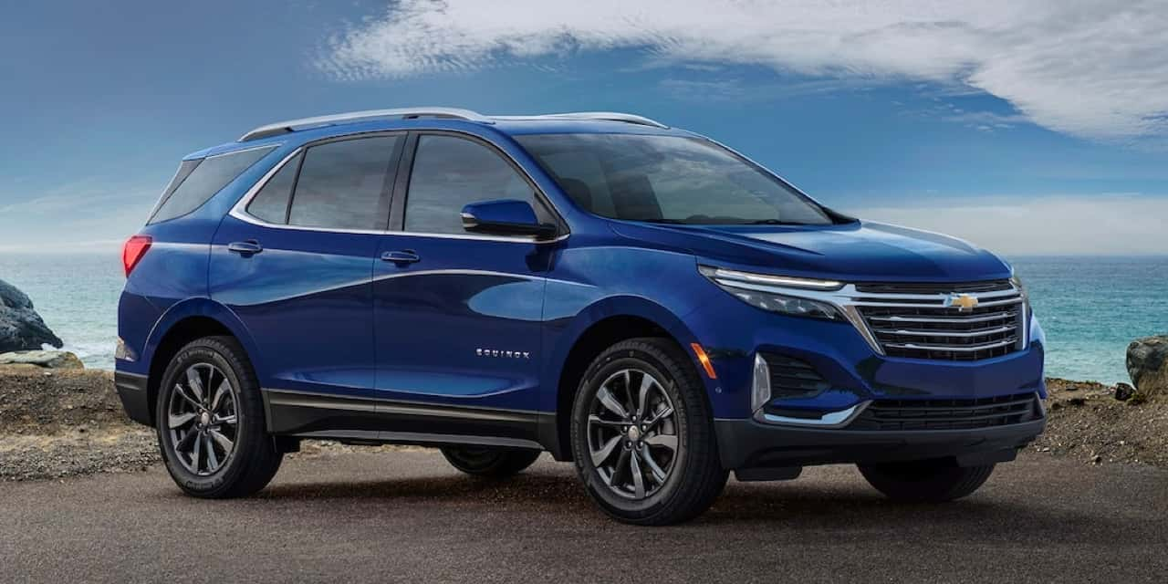 2021 Blue Chevrolet Equinox Front Angle View