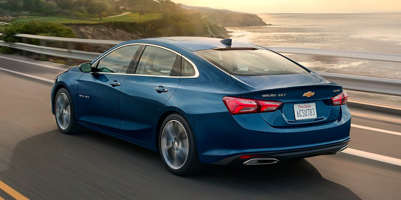 2021 Blue Chevrolet Malibu Rear Angle View