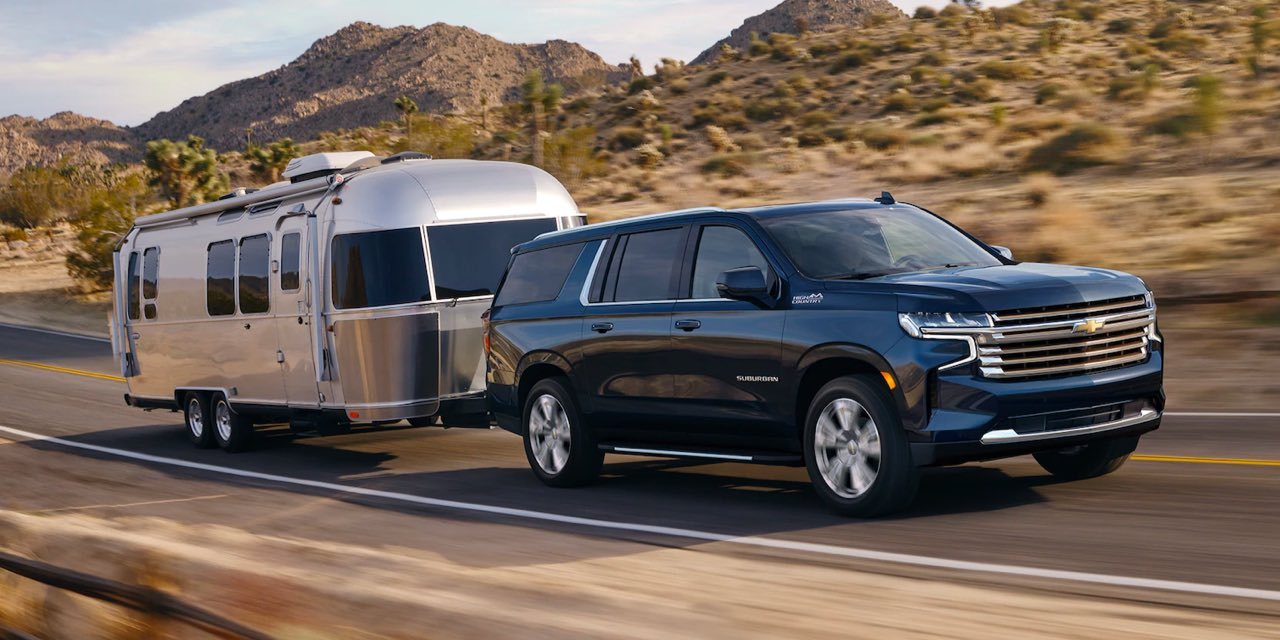 2021 Chevy Suburban towing a camper