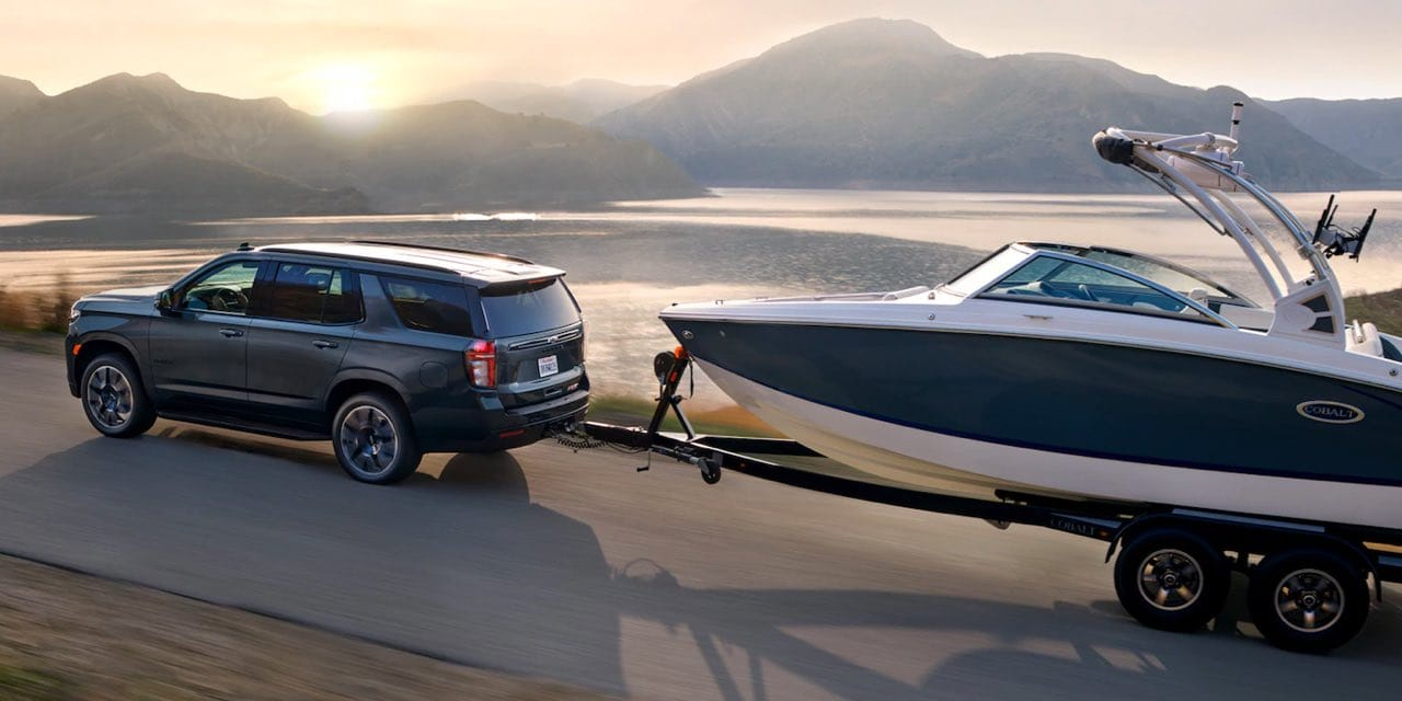 2021 Chevrolet Tahoe towing a very large boat