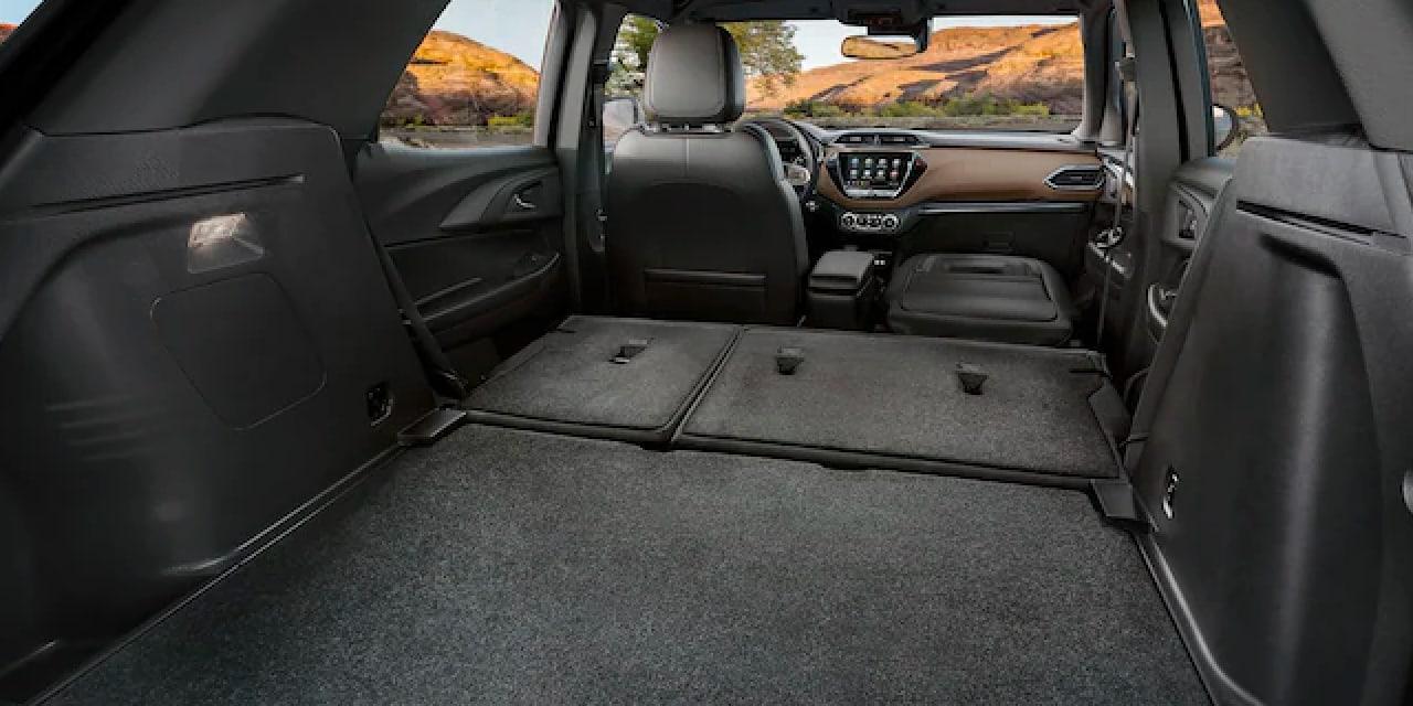 2022 Chevy Trailblazer rear cargo space with seats folded down
