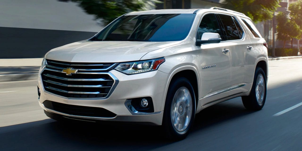 2021 Chevy Traverse driving towards viewer