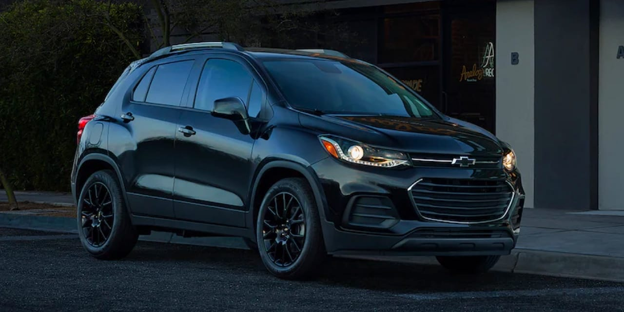 2022 Chevrolet Trax parked with headlights on