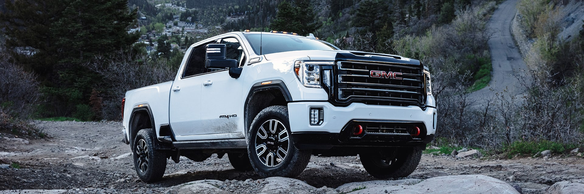 2021 GMC Sierra HD AT4 in the mountains
