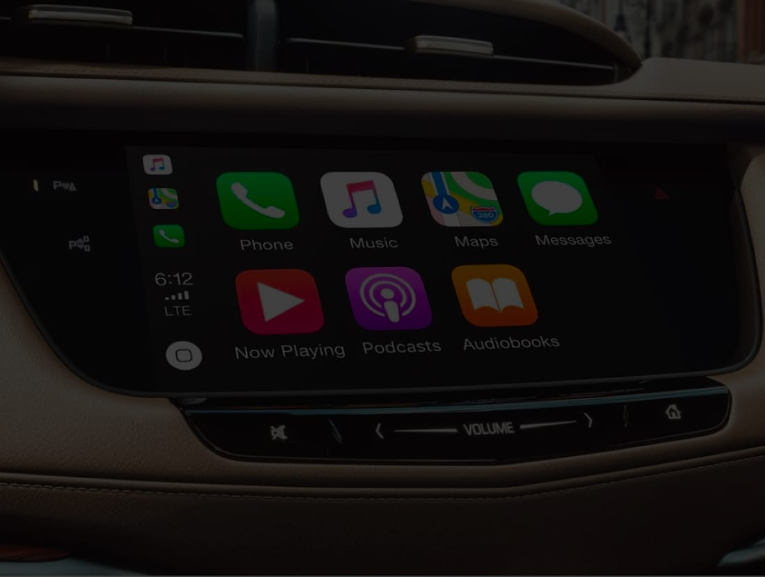 A infotaintment screen, showing Apple Carplay