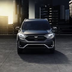 A front facing gray Honda CRV