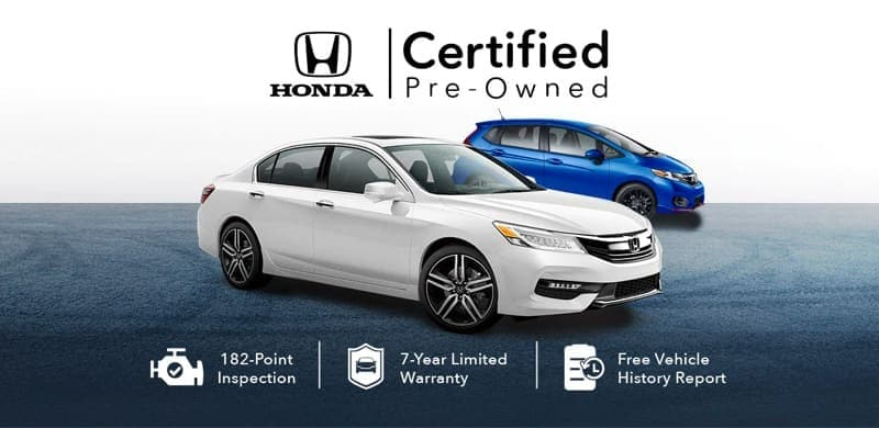 The Honda Certified Pre-Owned logo is shown above a white sedan and a blue hatchback.