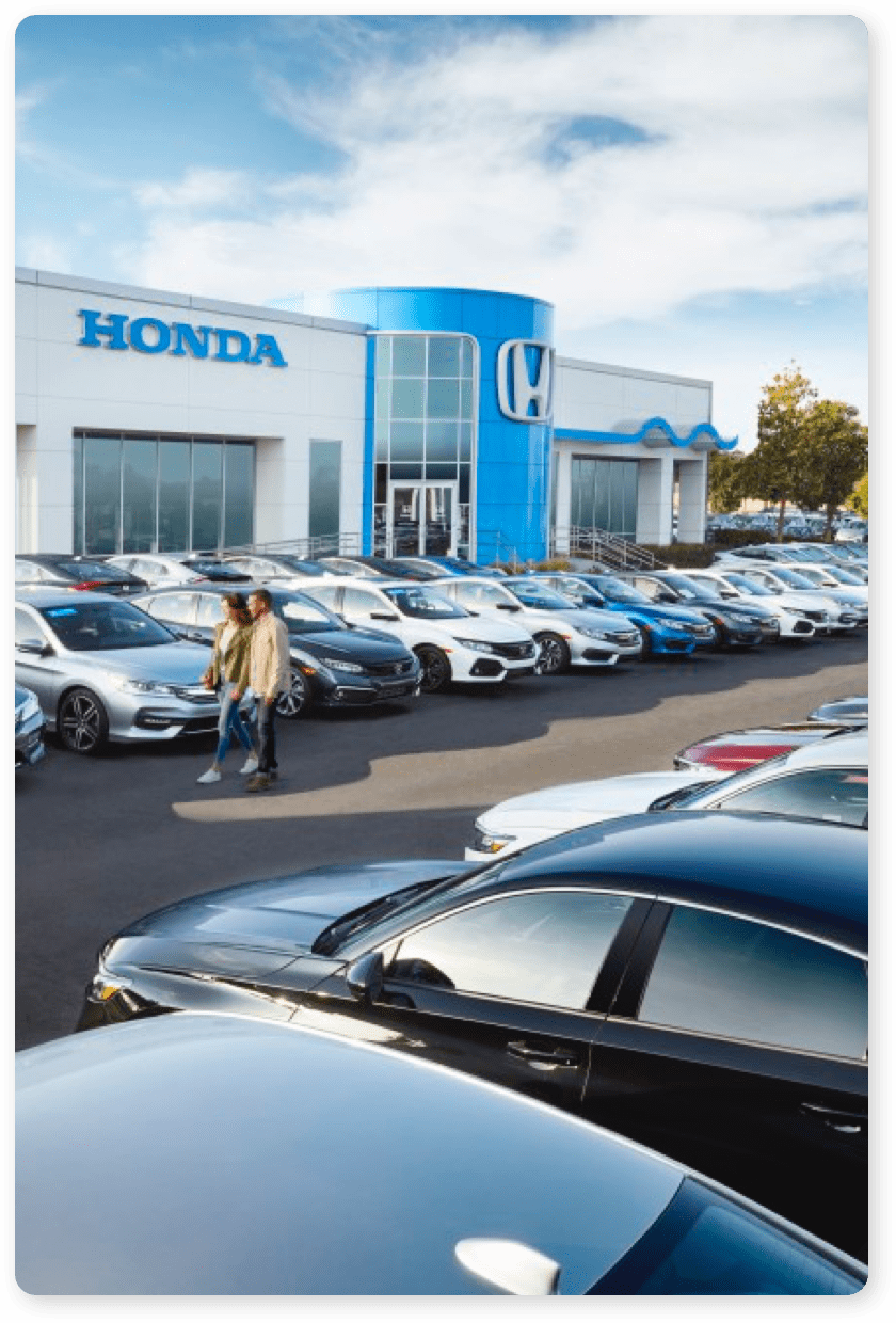 Front of Honda Dealership Lot