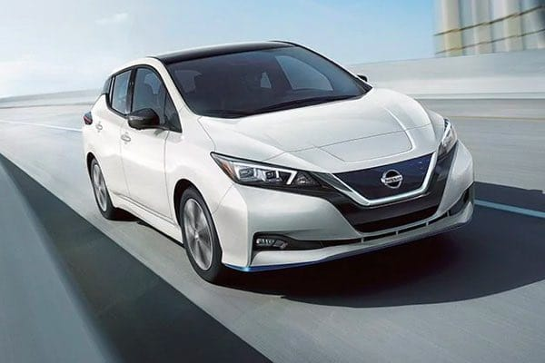 Nissan LEAF driving down expressway
