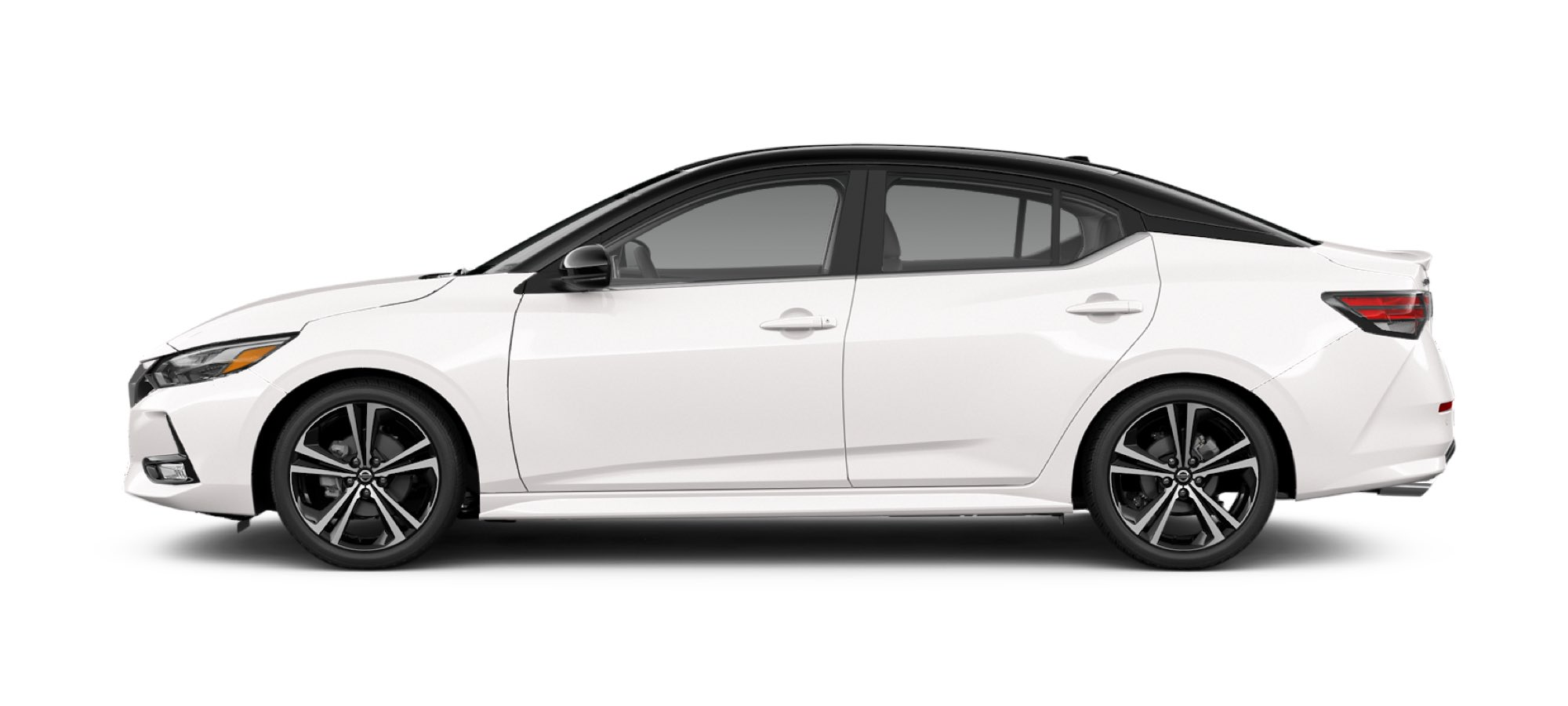 Two-Tone Aspen White TriCoat / Super Black Nissan Sedan