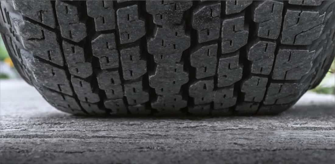 Close up of a tire on the ground